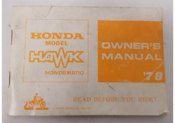 Owners Manual Hawk 400 Hondamatic 1978 3141700