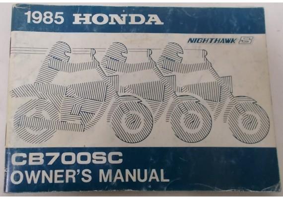 Owners Manual CB 700 SC NH S 1985 00X31-MJ1-6100