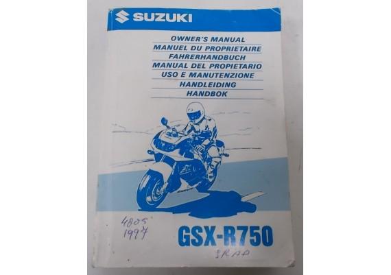 Owners Manual GSX-R 750 SRAD 1997 Engels/Frans/Duits/Nederlands o.a. 99011-33E52-042