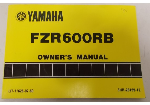 Owners Manual FZR600RB 1990 3HH-28199-12