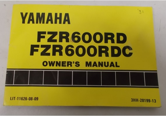 Owners Manual FZR600RD/FZR600RDC 3HH-28199-13