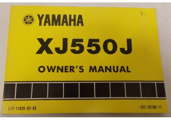 Owners Manual XJ550J 1981 5K5-28199-11