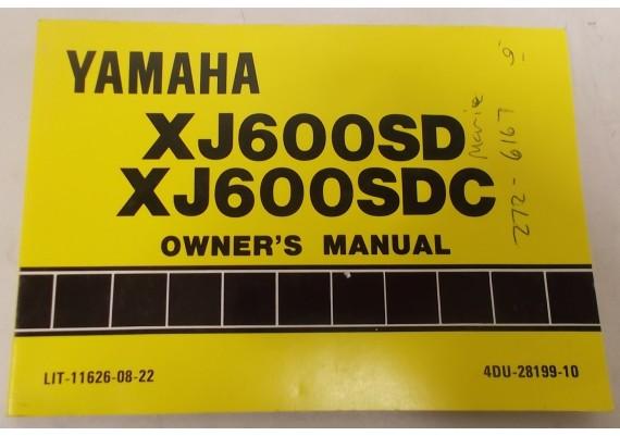 Owners Manual XJ600SD/XJ600SDC 1991 4DU-28199-10