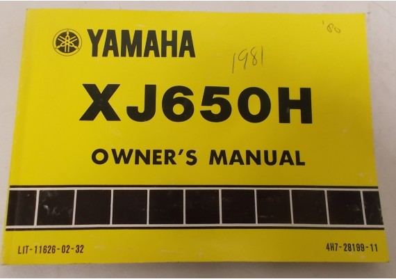 Owners Manual XJ650H 1980 4H7-28199-11