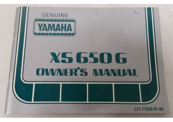 Owners Manual XS650G 1980 LIT-11626-01-86