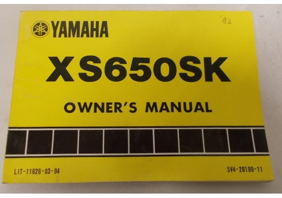 Owners Manual XS650SK 1982 5V4-28199-11