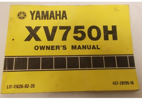 Owners Manual XV750H 1980 4X7-28199-10