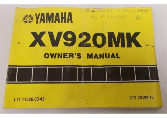 Owners Manual XV920MK 1982 27Y-28199-10