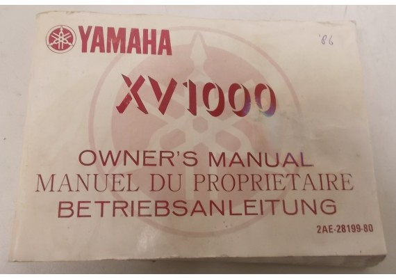 Owners Manual XV1000 1986 Engels/Frans/Duits 2AE-28199-80