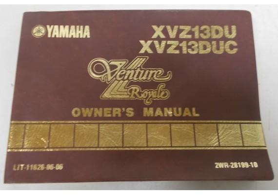 Owners Manual XVZ13DU/XVZ13DUC 1987 2WR-28199-10