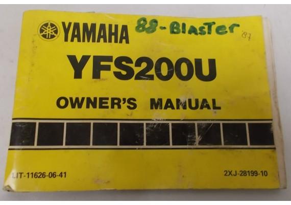 Owners Manual YFS200U 1987 2XJ-28199-10
