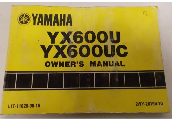 Owners Manual YX600U/YX600UC 1987 2WY-28199-10