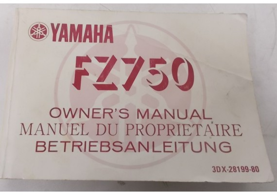 Owners Manual FZ 750 1987 Engels/Frans/Duits 3DX-28199-80