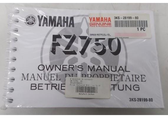 Owners Manual FZ 750 1989 Engels/Frans/Duits NIEUW in verpakking 3KS-28199-00