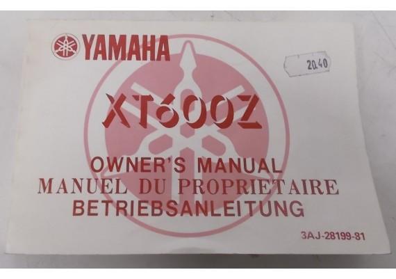Owners Manual XT 600 Z 1988 Engels/Frans/Duits 3AJ-28199-81