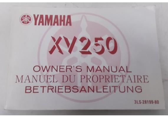 Owners Manual XV 250 1988 Engels/Frans/Duits 3LS-28199-80