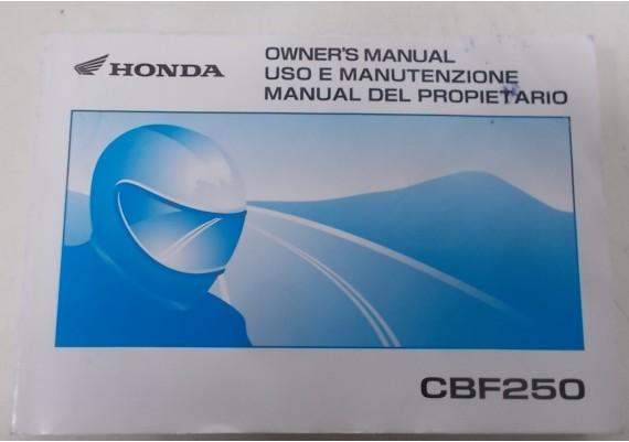 Owners Manual CBF 250 2003 Engels/Spaans/Italiaans D2203-MAN-0356