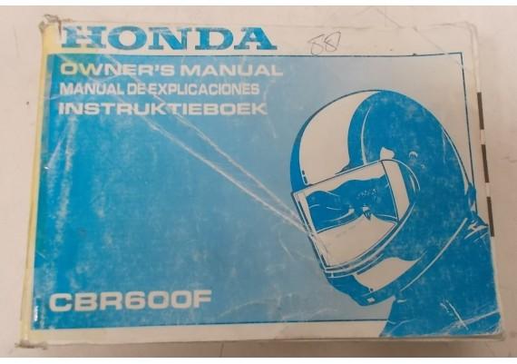 Owners Manual CBR 600 F 1988 Nederlands/Engels/Frans 00X37-MT6-6000