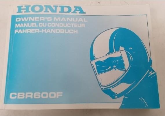 Owners Manual CBR 600 F 1998 Engels/Frans/Duits 00X37-MBW-6000