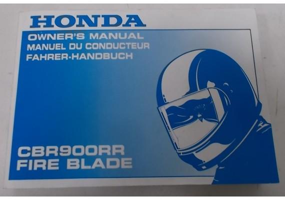 Owners Manual CBR 900 RR Engels/Frans/Duits 00X37-MCJ-6001