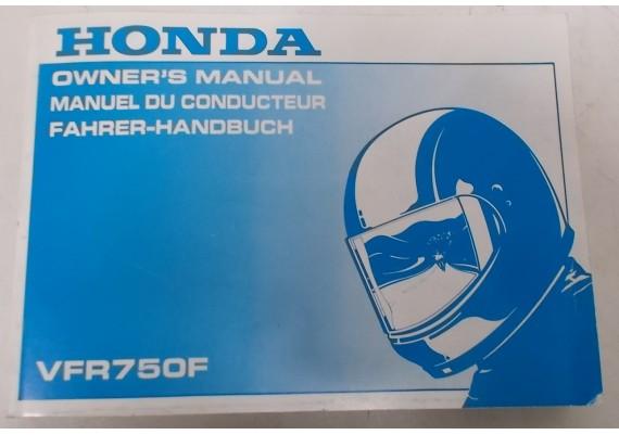 Owners Manual VFR 750 F 1996 Engels/Frans/Duits 00X37-MZ7-6301